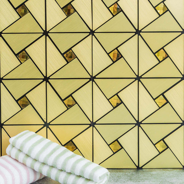 Pack of 10 - 10 Sq.Ft Gold Peel and Stick Backsplash Rhinestone Studded 3D Metal Wall Tiles