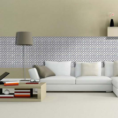 10 Pack | 10 Sq.Ft Silver Peel and Stick Backsplash Rhinestone Studded 3D Metal Wall Tiles