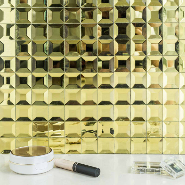 10 pack 12 x12 gold peel and stick mirror wall tiles. Black Bedroom Furniture Sets. Home Design Ideas