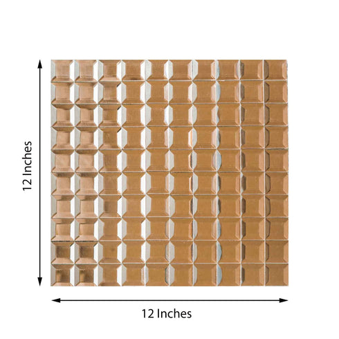 "Pack of 10 - 12""x12"" Rose Gold Peel and Stick Backsplash Mirror Wall Tiles"