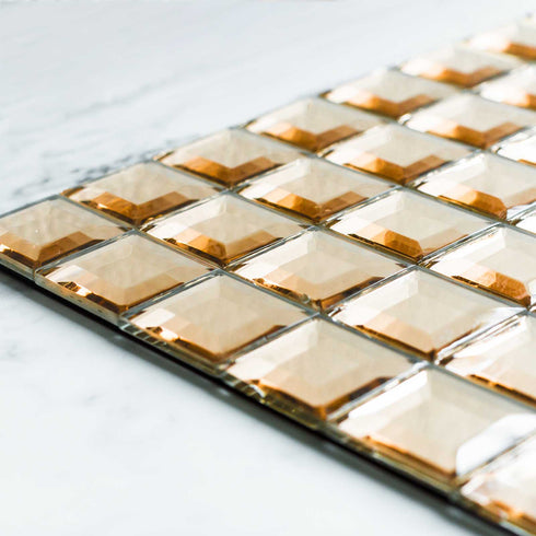 "10 Pack | 12""x12"" Rose Gold Peel and Stick Backsplash Mirror Wall Tiles"