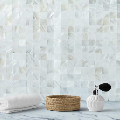 "5 Pack| 12""x12"" Peel & Stick White Real Sea Shell Mosaic Wall Tiles"