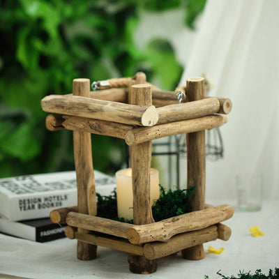 "10"" Rustic Multipurpose Wooden Lantern Centerpiece Hanging Candle Holder With Rope Handles"