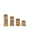 "Set of 4 | Assorted Wooden Pillar Candle Holders With Braided Twines Burlap Ribbons and Hanging Stars - 8""/7""/5""/4"""