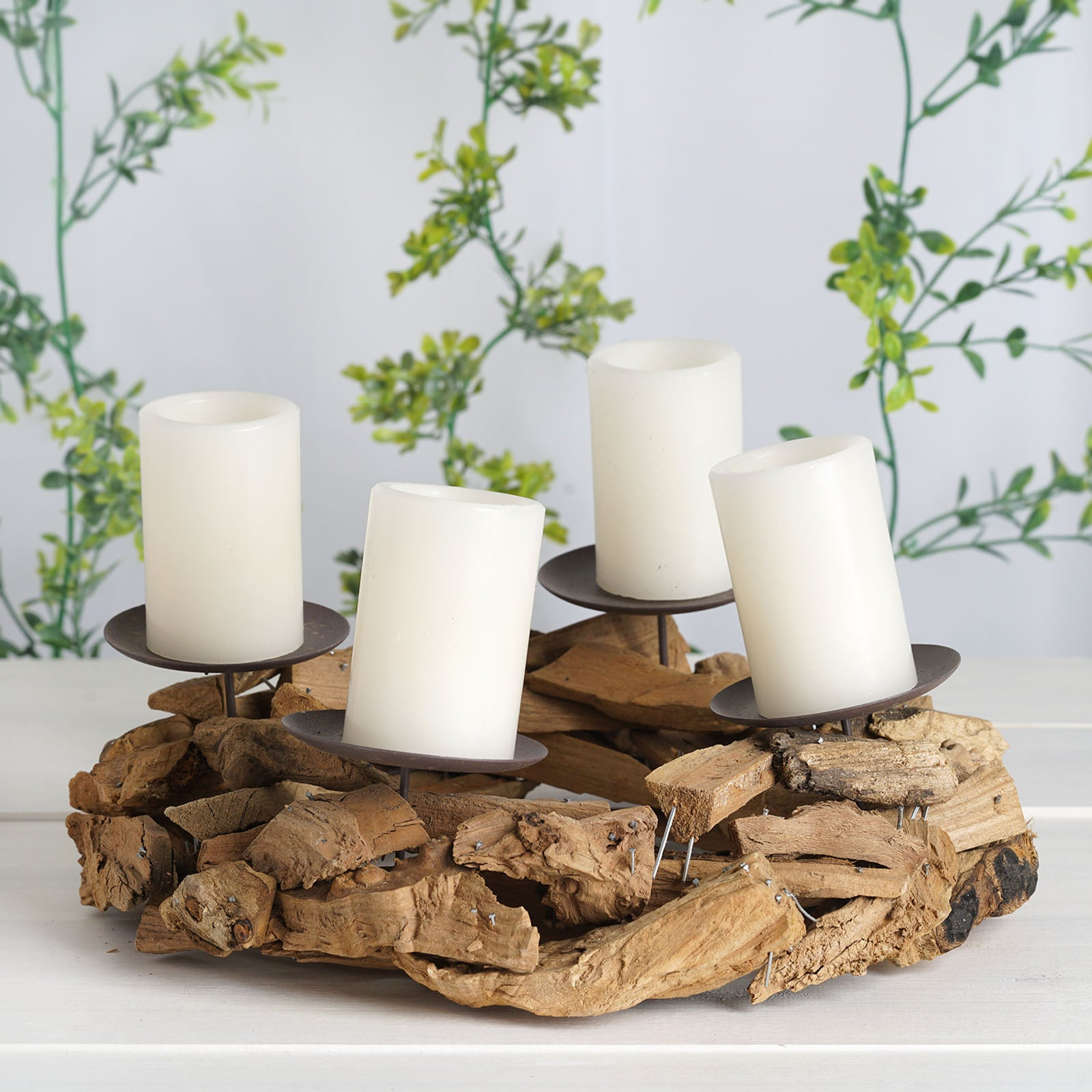 Brown 12 Wide Natural Wood Rustic Candle Ring Holder Party Wedding Centerpieces