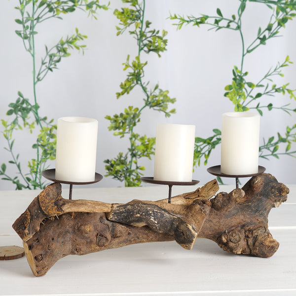 "14"" Wooden Candle Holders with 3 Metal Plate, Votive Candle Holders"
