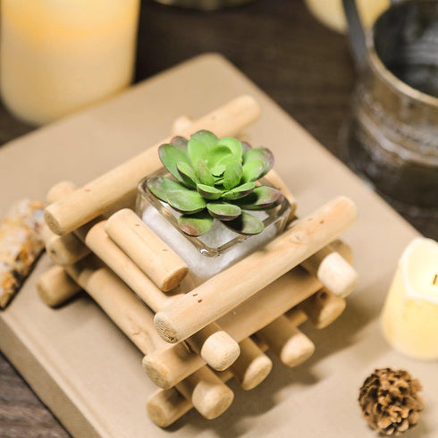 "3"" Tall - Driftwood Wooden Candle Holder - Square Glass Tea Light Holder - Rustic Wedding Centerpiece"