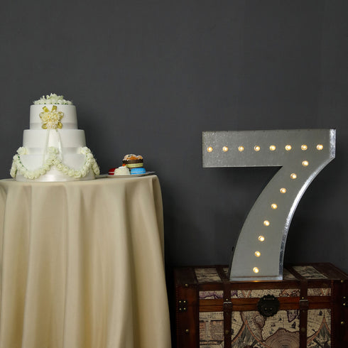2 FT | Vintage Metal Marquee Number Lights Cordless With 16 Warm White LED - 7