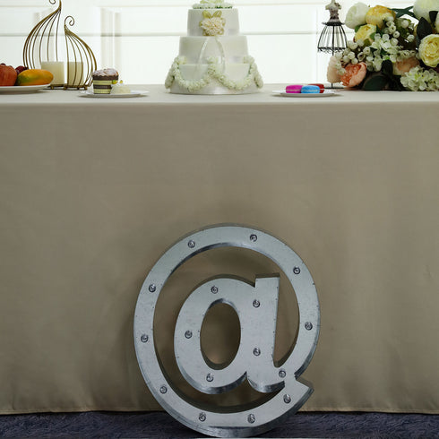 2 FT | Vintage Metal Marquee Symbol Lights Cordless With 16 Warm White LED - @