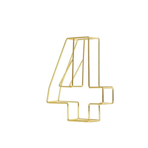 "8"" Tall - Gold Wedding Table Numbers - Freestanding 3D Decorative Metal Wire Numbers - 4"