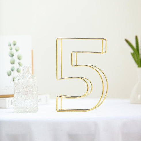 "8"" Tall - Gold Wedding Table Numbers - Freestanding 3D Decorative Metal Wire Numbers - 5"