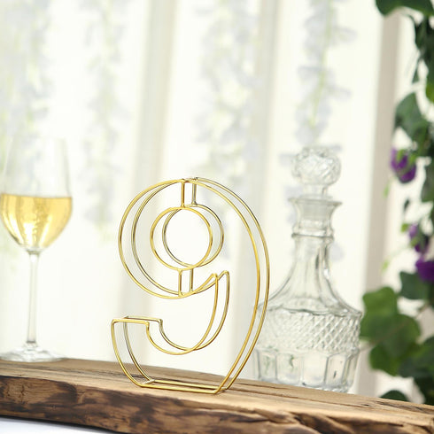 "8"" Tall - Gold Wedding Centerpiece - Freestanding 3D Decorative Wire Number - 9"