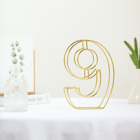 "8"" Tall - Gold Wedding Table Numbers - Freestanding 3D Decorative Metal Wire Numbers - 9"