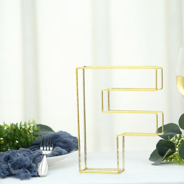 "8"" Tall - Gold Wedding Centerpiece - Freestanding 3D Decorative Wire Letter - F"