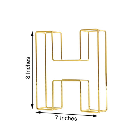 "8"" Tall - Gold Wedding Centerpiece - Freestanding 3D Decorative Wire Letter - H"