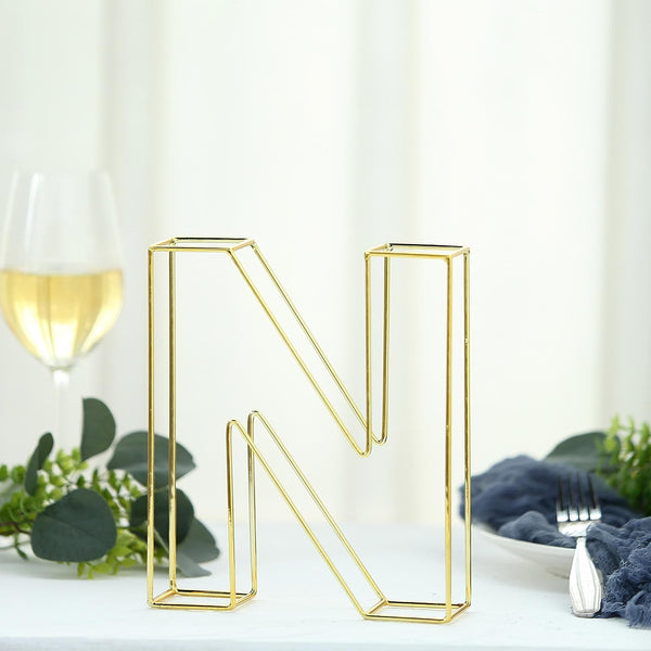 "8"" Tall - Gold Wedding Centerpiece - Freestanding 3D Decorative Wire Letter - N"