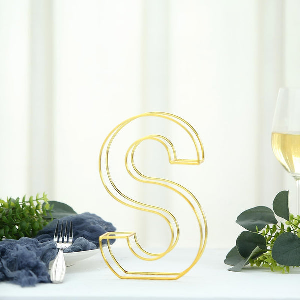 "8"" Tall - Gold Wedding Centerpiece - Freestanding 3D Decorative Wire Letter - S"