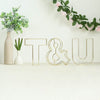 "8"" Tall - Gold Wedding Centerpiece - Freestanding 3D Decorative Wire Letter - T"