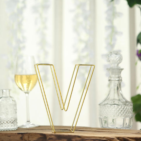 "8"" Tall - Gold Wedding Centerpiece - Freestanding 3D Decorative Wire Letter - V"