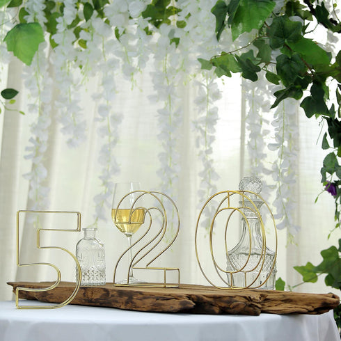 "8"" Tall - Gold Wedding Centerpiece - Freestanding 3D Decorative Wire Letter - J"