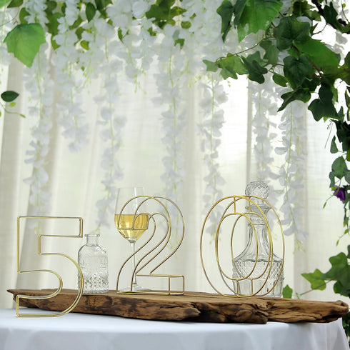 "8"" Tall - Gold Wedding Table Numbers - Freestanding 3D Decorative Metal Wire Numbers - 3"