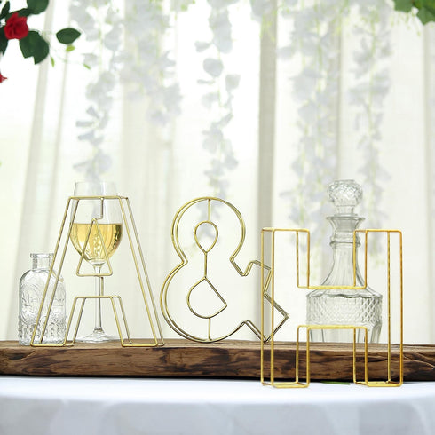 "8"" Tall - Gold Wedding Centerpiece - Freestanding 3D Decorative Wire Symbol - &"