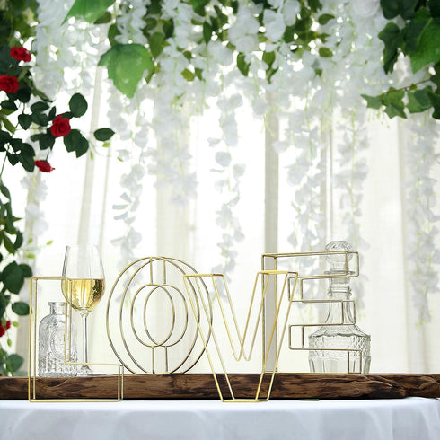 "8"" Tall - Gold Wedding Centerpiece - Freestanding 3D Decorative Wire Letter - Z"