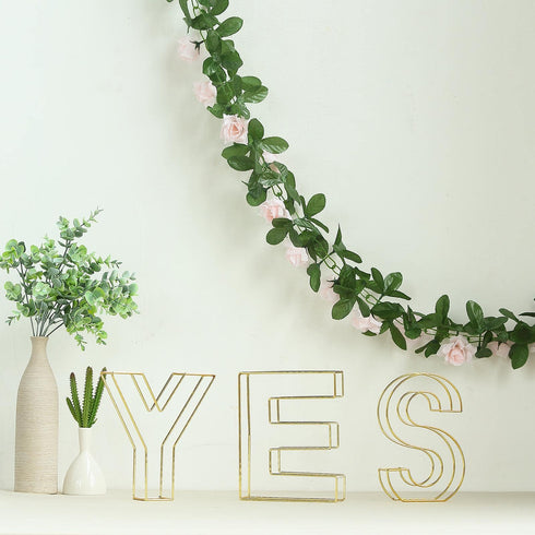 "8"" Tall - Gold Wedding Centerpiece - Freestanding 3D Decorative Wire Letter - P"