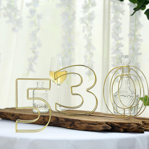 "8"" Tall - Gold Wedding Centerpiece - Freestanding 3D Decorative Wire Letter - R"
