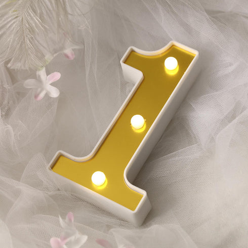 "6"" Gold 3D Marquee Numbers - Warm White 3 LED Light Up Numbers - 1"