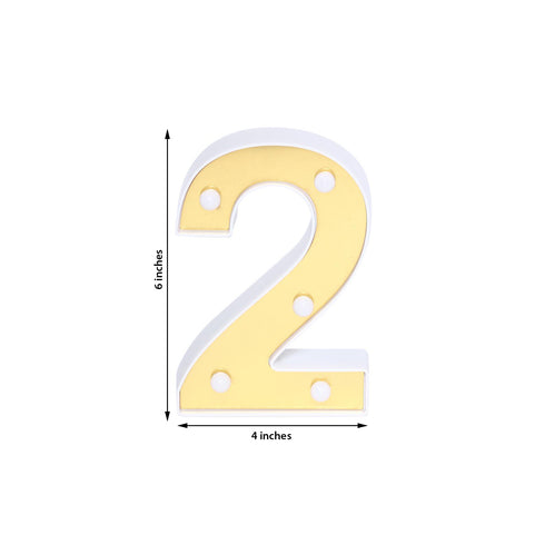 "6"" Gold 3D Marquee Numbers - Warm White 5 LED Light Up Numbers - 2"