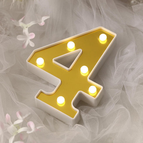 "6"" Gold 3D Marquee Numbers - Warm White 6 LED Light Up Numbers - 4"