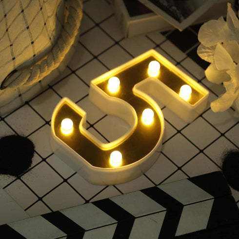 "6"" Gold 3D Marquee Numbers - Warm White 6 LED Light Up Numbers - 5"