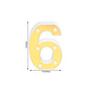 "6"" Gold 3D Marquee Numbers - Warm White 6 LED Light Up Numbers - 6"