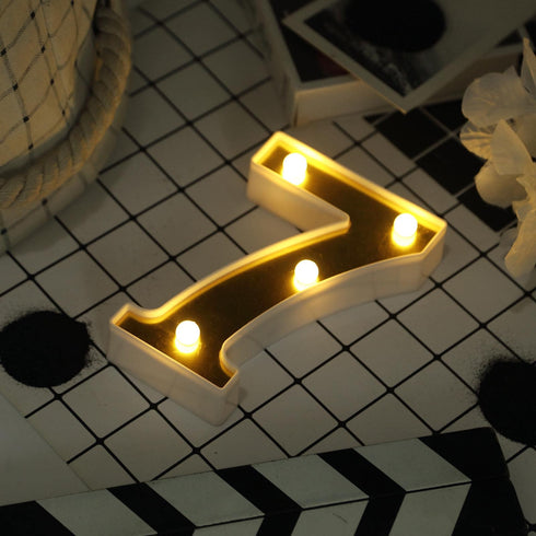 "6"" Gold 3D Marquee Numbers - Warm White 4 LED Light Up Numbers - 7"