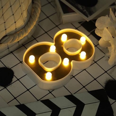 "6"" Gold 3D Marquee Numbers - Warm White 7 LED Light Up Numbers - 8"