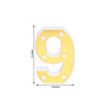 "6"" Gold 3D Marquee Numbers - Warm White 6 LED Light Up Numbers - 9"