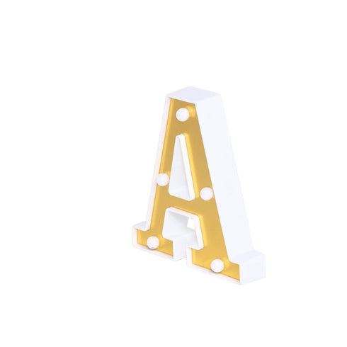 "6"" Gold 3D Marquee Letters - Warm White 5 LED Light Up Letters - A"