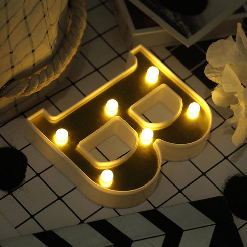 "6"" Gold 3D Marquee Letters - Warm White 6 LED Light Up Letters - B"