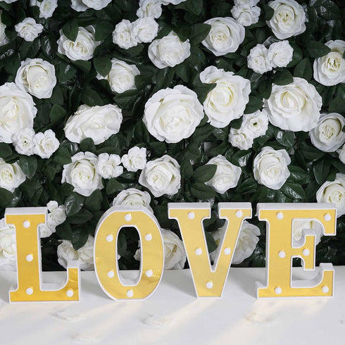 "6"" Gold 3D Marquee Letters - Warm White 5 LED Light Up Letters - U"