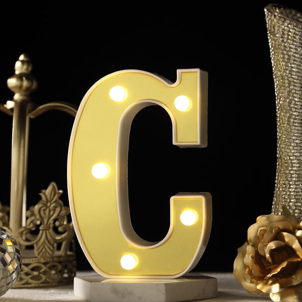 "6"" Gold 3D Marquee Letters - Warm White 5 LED Light Up Letters - C"