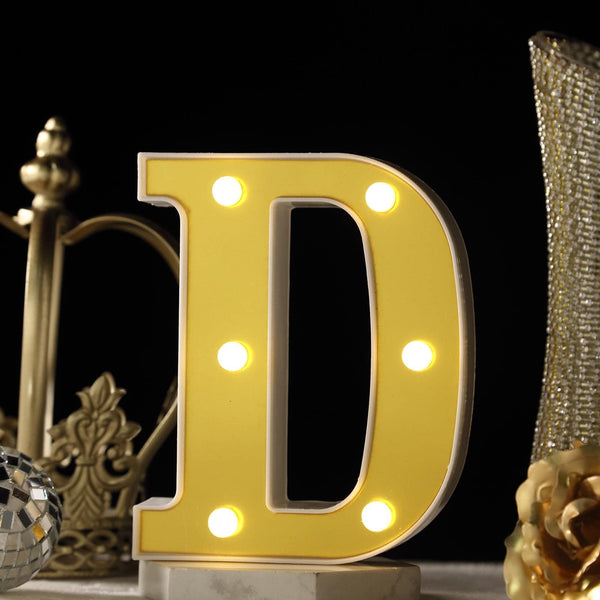 "6"" Gold 3D Marquee Letters - Warm White 6 LED Light Up Letters - D"