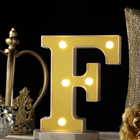 "6"" Gold 3D Marquee Letters - Warm White 5 LED Light Up Letters - F"