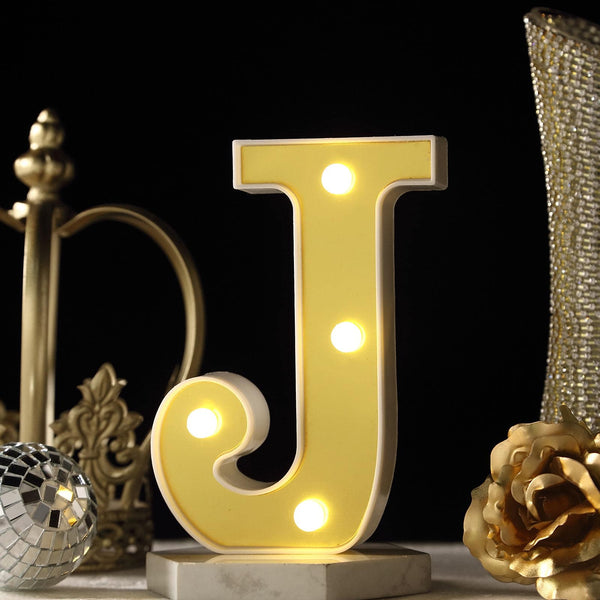 "6"" Gold 3D Marquee Letters - Warm White 4 LED Light Up Letters - J"