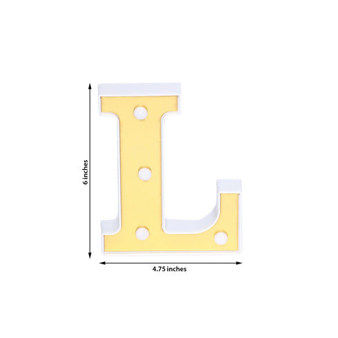 "6"" Gold 3D Marquee Letters - Warm White 4 LED Light Up Letters - L"