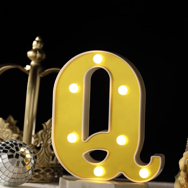 "6"" Gold 3D Marquee Letters - Warm White 7 LED Light Up Letters - Q"