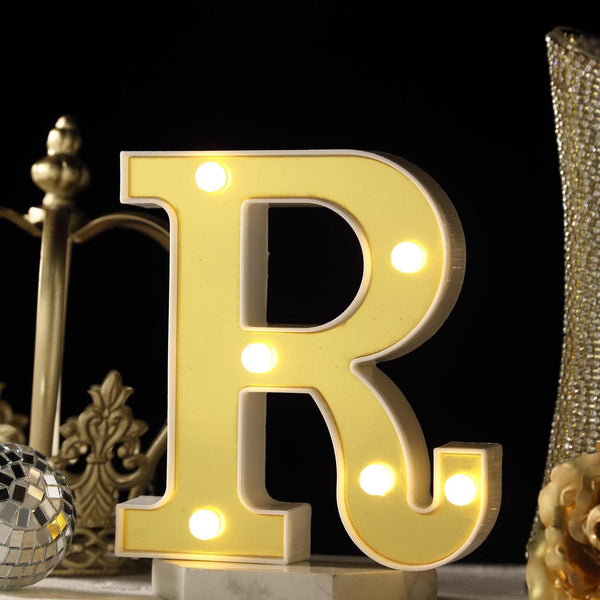 "6"" Gold 3D Marquee Letters - Warm White 6 LED Light Up Letters - R"