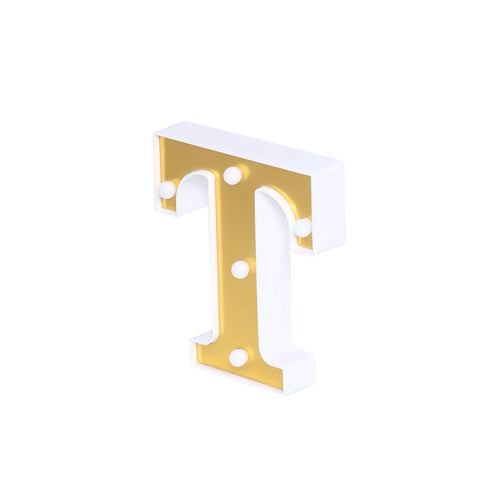 "6"" Gold 3D Marquee Letters - Warm White 5 LED Light Up Letters - T"