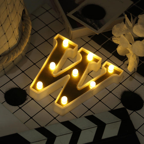 "6"" Gold 3D Marquee Letters - Warm White 8 LED Light Up Letters - W"