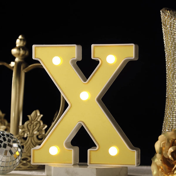"6"" Gold 3D Marquee Letters - Warm White 5 LED Light Up Letters - X"